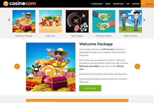 Casino com screenshot welcome bonus
